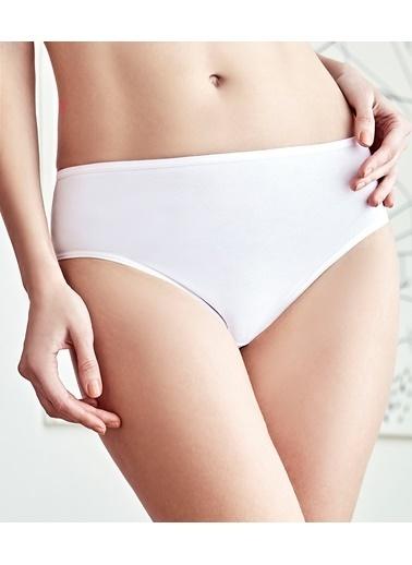 Anıl Kadın Pamuklu Normal Bel 3'Lü Paket Nefes Alan Koton Kumaş Slip Külot Beyaz